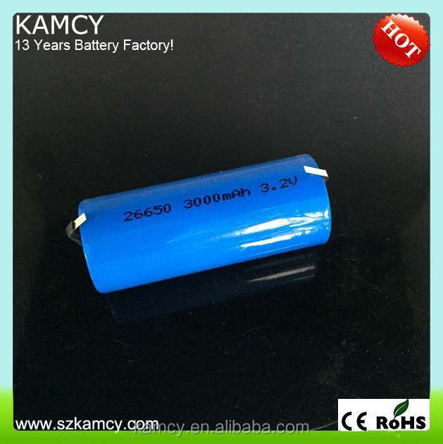 china manufacturer lights lifepo4 26650 battery 3.2V 3100mAh rechargeable hot