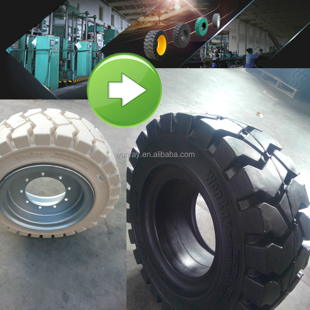 6.00-9 forklift solid tyre press machine, off road industrial linde solid tire 6.00-9 18x7-8 23x9-10 6.50-10