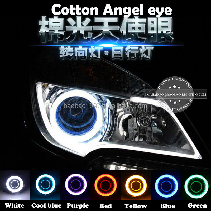 2pcx Cotton Light Angel Eye LED DRL Car Motorcycle Fog Light Halo Rings Waterproof Auto Headlight Turning Signal With Lampshades