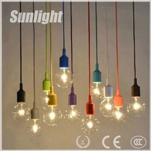 modern industrial simple style colorful vintage silicon socket indoor pendant lamp/lighting for coffee shop