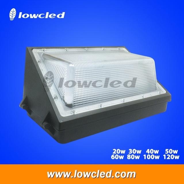 20w 30w 40w 50w 60w 80w 100w 120w Lowcled IP65 LED wall pack light used on walls of Super Market, Hotel, Tavern, Night Club