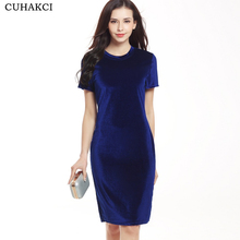 Women Velvet Bodycon Dress Short Sleeve Elegant Office Pencil Dress Ladies Round Neck Knee Length