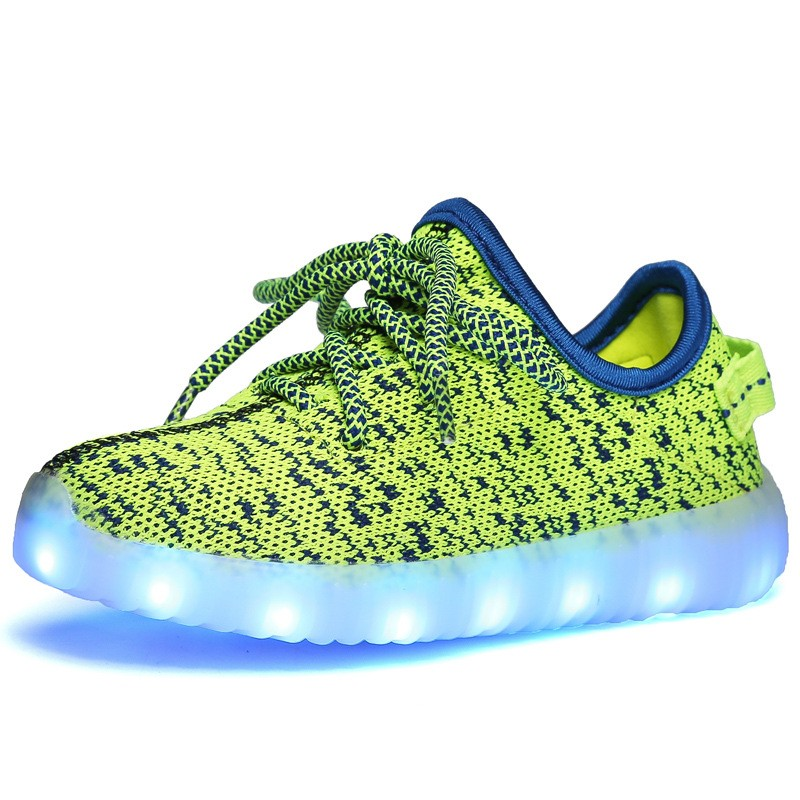 EK1002 Hotsale Flyknit Children's Light up Sneaker Kids Led Yeezy <strong>Shoes</strong>