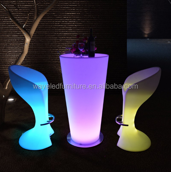 Outdoor party use led stand up cocktail bar tables with color changing