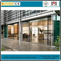 2017 Factory direct price golden supplier safety glass building use automatic glass sliding door