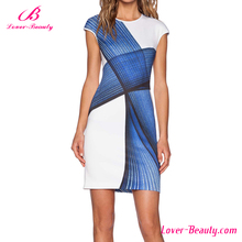 Latest fashion blue and white style beautiful office dress