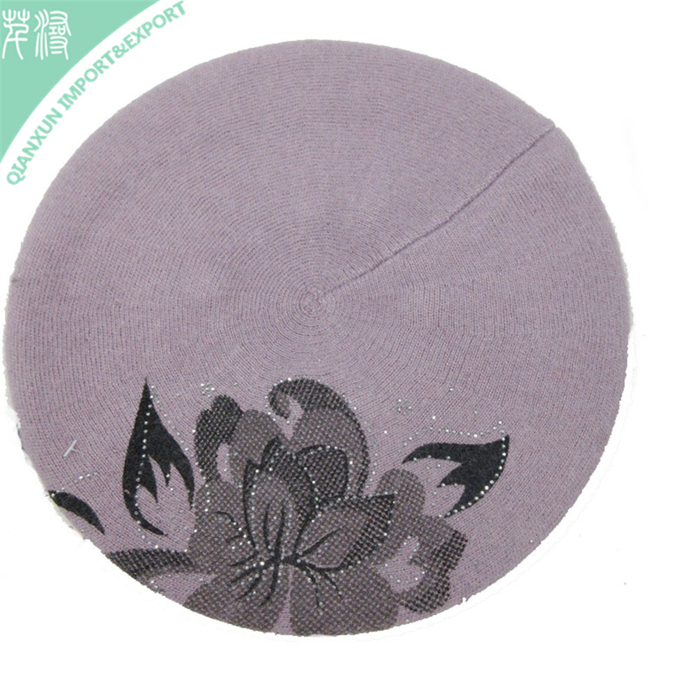 HT-117521 Angora fashion berets french hat available flowered printed warm cap