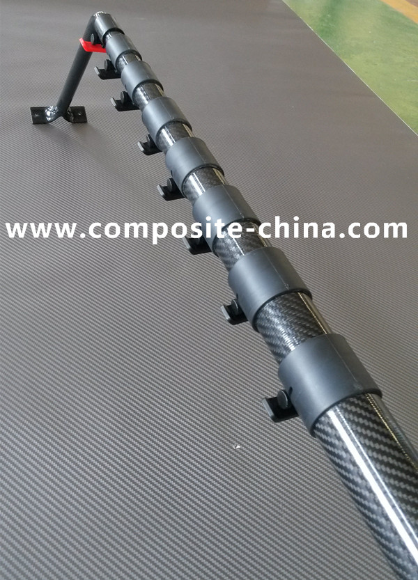High hardness carbon fiber telescopic pole with 3K glossy surface finish