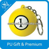 Cheap promtional item mini soft No.1 billiards ball key chain for sale