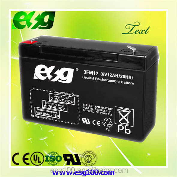 Rechargeable 6V voltage 12AH Sealed Lead Acid AGM Battery