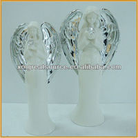 new design white ceramic angel figurines with bird