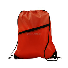 Custom Promotional Eco Gym Sports Zipper 210D Polyester Drawstring Bag