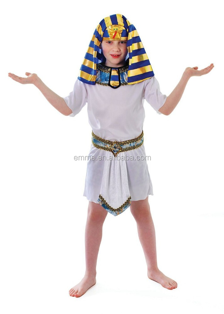 Kids boys egyptian king pharaoh white tunic fancy dress costume for party BC12229