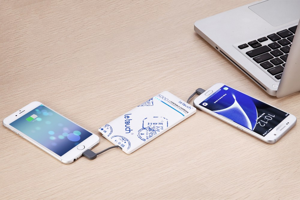 Great Christmas gift built in cables slim mobile powerbank 5000mAh for traveler