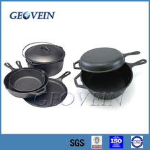 High quality non-stick enamel coated cast iron camping cookware set