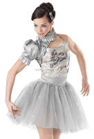 MB2015184 Teen Girl Silver sequin stage dance puffy Ruffles costume ballet tutu dress