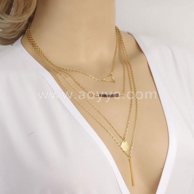Europe and America trade jewelry fashion explosion models simple beaded stick multilayer necklace
