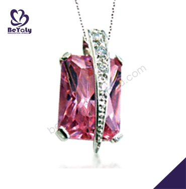 Red crystal gemstone smart silver eagle pendant necklace