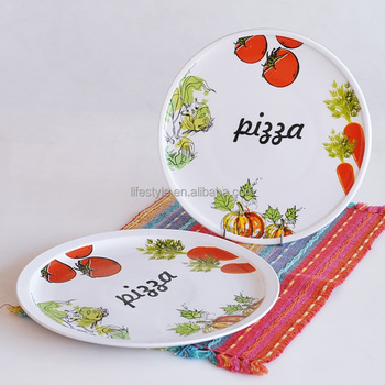 "12"" pizza plate with decal, custom ceramic pizza plate, for promotional"