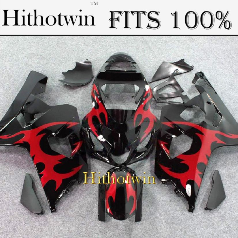 INJECTION MOLDING Fairing Kit 2004 2005 GSXR600 750 For Suzuki K4 GSXR600 GSXR750 2004 2005 red flames black ABS Plastic Fairing