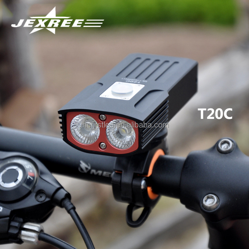 JEXREE Factory USB Bike Bicycle Front Light Built-in 2x18650 Battery Bicycle Accessories 2017