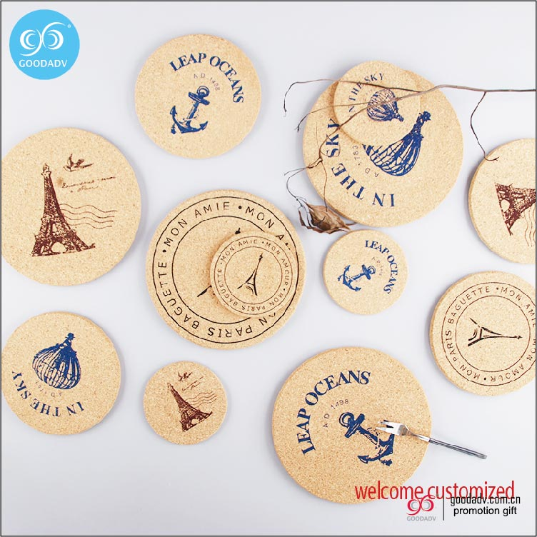 Guangdong manufacturer wholesale custom blank cork coaster or 1 color printing custom coaster