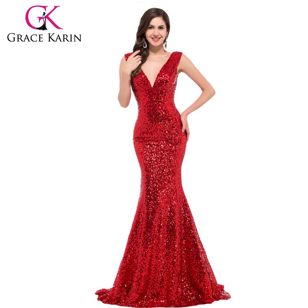 Grace Karin Fashionable Deep V-Neck Shining Red Sequins Evening Dress CL6052-3#