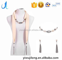 wholesale jewellery scarf with tassel pure color polyester necklace scarves decorated with beads