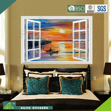 Eco-friendly pvc waterproof beautiful scenery home decor self adhesive removable vinyl window decals