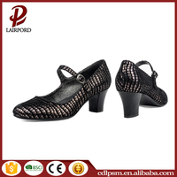 2016 factory supplier black dress genuine leather ankle strap nice italian style dress shoes