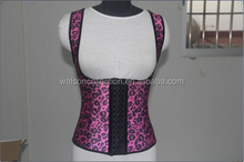hot sale wholesale walson xs-6xl latex rubber pink and yellow leopart vest sport waist cincher corset