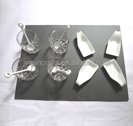 tableware hand cut glass cup natual slate stone placemat
