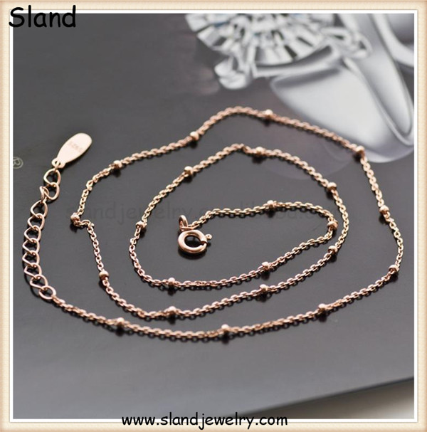 Guangzhou factory price alibaba online wholesale 925 sterling silver jewelry making rose gold Satellite Chain with extender