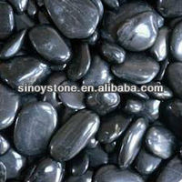 Natural Polished Black pebble stone