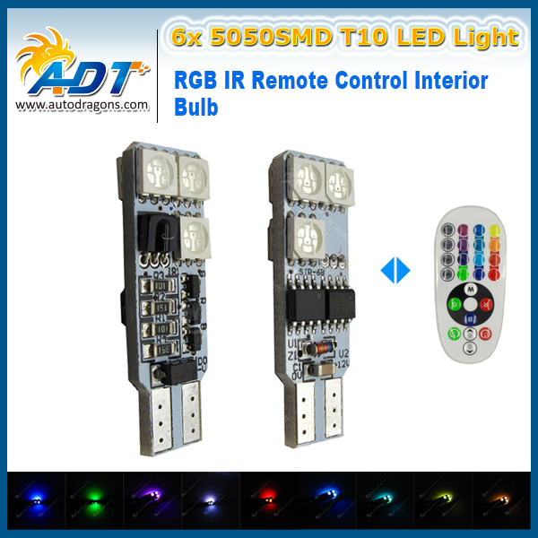5050 SMD RGB T10 194 168 W5W Car RGB Reading Light Lamp 6 LED 12 LED 16 Colors LED Bulb With Remote Controller Flash Strobe