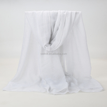 High quality muslim women scarf shawl oversized cotton white crinkle hijab scarves