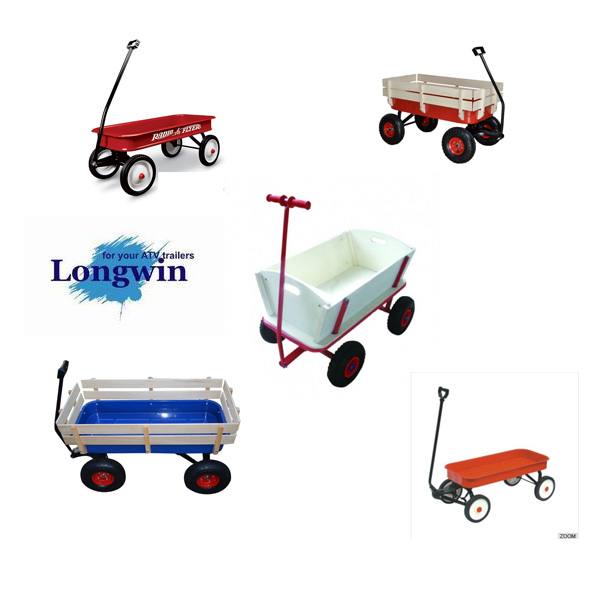 ALL Terrain Hand Pulling Red Railing easy go Kids wagons trolley
