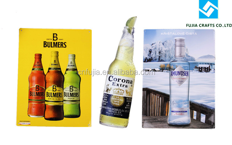 Tin Sign Board, Bottle Shaped Metal Sign, Metal Tin Sign For Beer Promotion