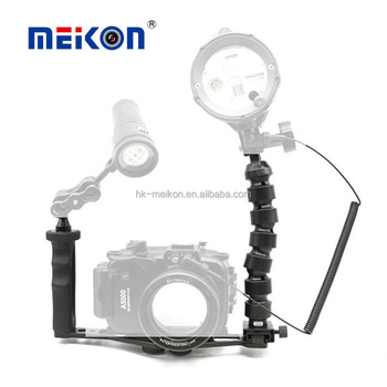 "light weight aluminium alloy 8"" base 10"" flex arm single handle camera bracket kits for underwater camera housings"