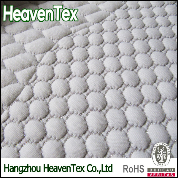 HX05013S Filamentary Silver Metallic Knitted mattress ticking fabric