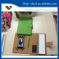 PU leather notebook with holder for phone