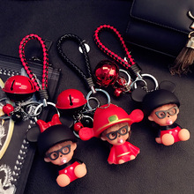 Cartoon Cute Monchichi Doll Keychain Leather Rope Small Bells Key Rings Women Purse Car Charm Pendant Key Holder