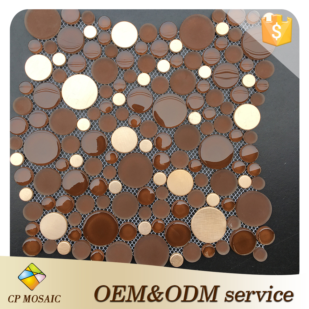 China factory glass mosaic wall decoration bubble round crystal irregularity cool tone round mosaic mix stainless steel tile
