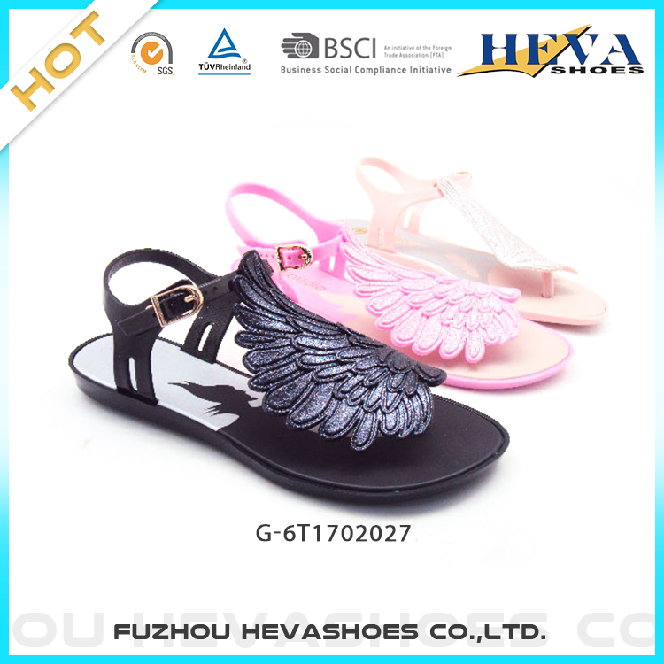 2017 New Angle Wings Flip Flop Women Jelly Flat Sandals