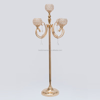 5 Arms Flower Style Wedding Silver Crystal Candelabra For Wedding Table Decoration