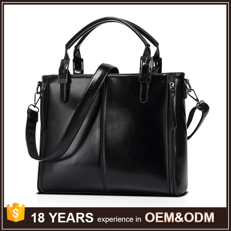 High Quality Vegetable Black Handmade Leather Tote Bag Wholesale for Women