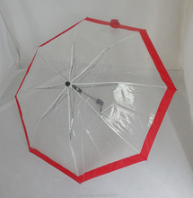Wholesale poe transparent plastic material 2 fold umbrella