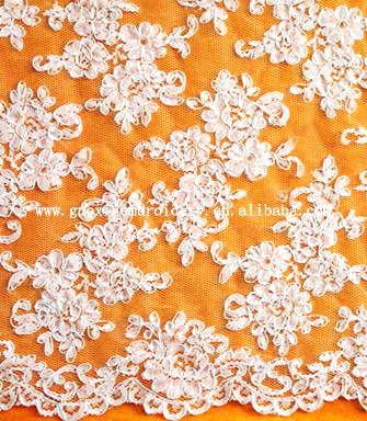 Polyester lace jacquard bridal embroidered tulle lace fabric