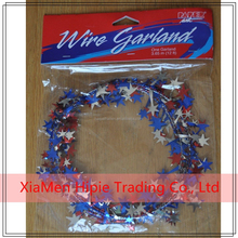 Patriotic Stars Holographic Wire Garland 25' Craft Decor Wreath Red Silver Blue