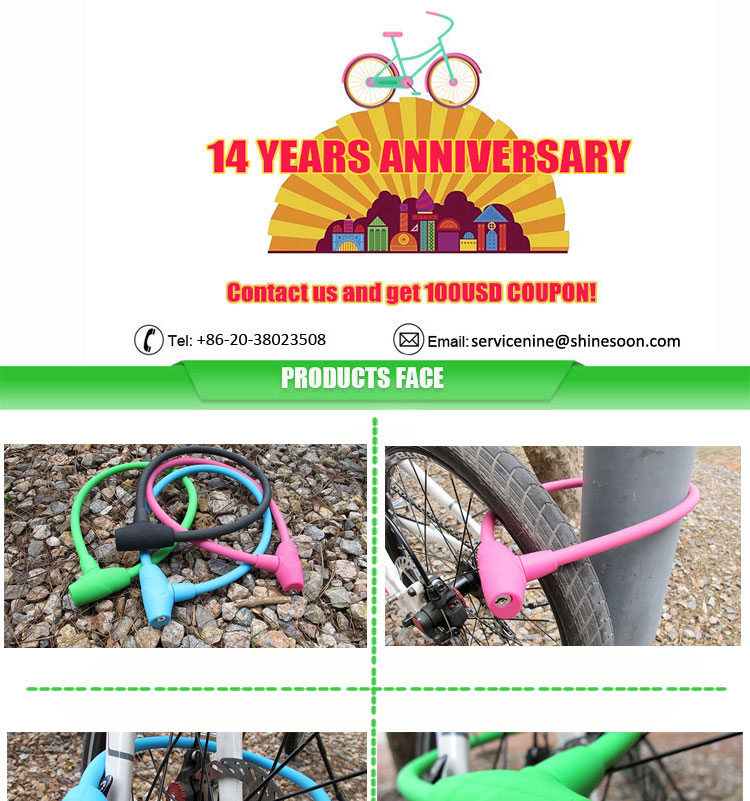 Colorful bicycle cable lock ,silicone overmoulded steel cable lock, silicone material bike lock with keys